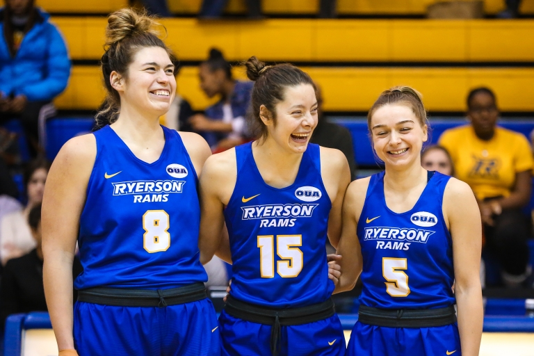 2018-2019 Ontario University Athletics Women's Basketball Senior Night Game Action between the Ryerson Rams and the QueenÕs Gaels.
