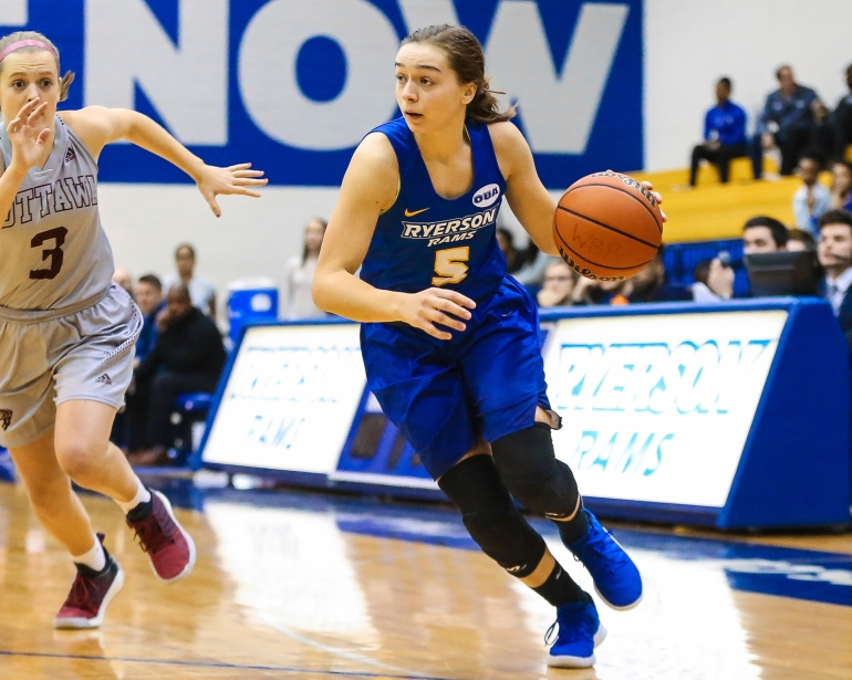 2018 Ontario University Athletics Women's Basketball Regular Season Game Action between the Ryerson Rams and the Ottawa Gee-Gees.